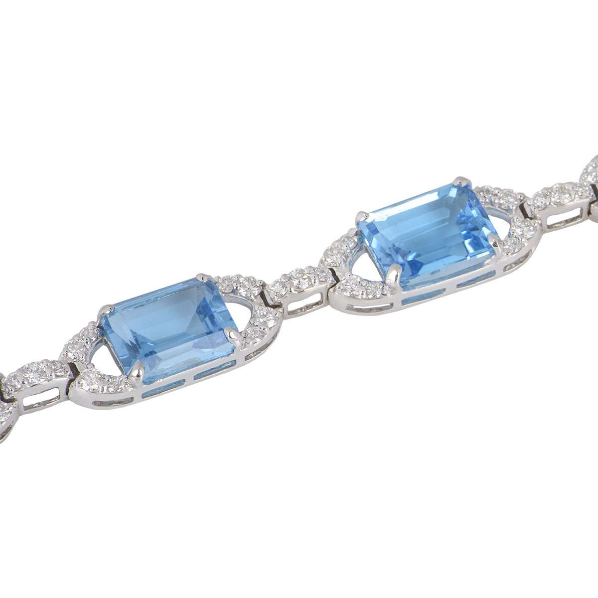 White Gold Diamond & Topaz Bracelet